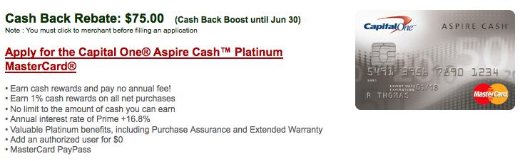 [逾期]CapitalOne Aspire Cash白金信用卡:現金支票$75回贈 + 1%購物回贈 + 免年費