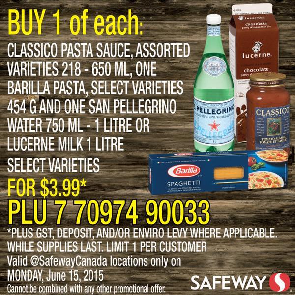 [逾期]Safeway:Classico Pasta Sauce + 1L San Pellegrino Water或鮮奶 + Barilla Pasta意粉一盒只賣$3.99