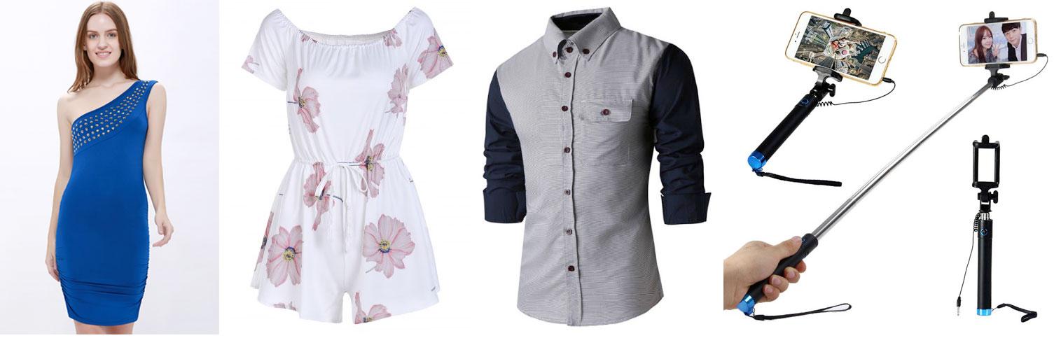Rosegal:女裝單邊斜膊全身裙只賣US$8.64