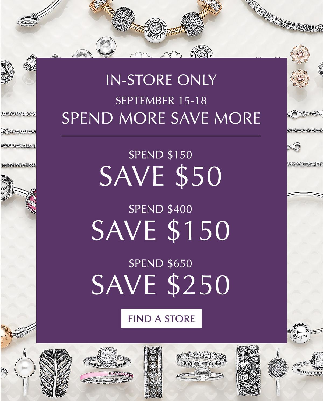 [逾期]Pandora:購物滿$150,可獲$50折扣優惠