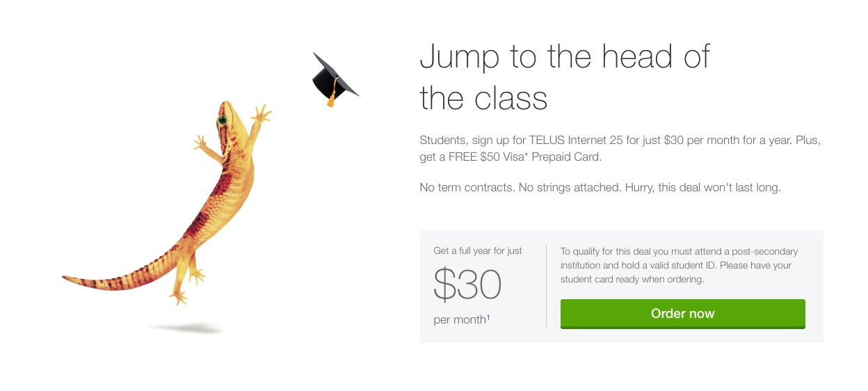 Telus:Internet 25月費只需$30 + 免費$50 Visa Prepaid Card(只限學生)
