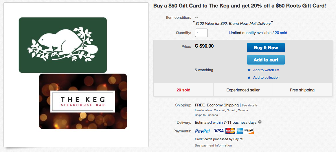 ebay.ca:$50 The Keg Gift Card + $50 Roots Gift Card只賣$90