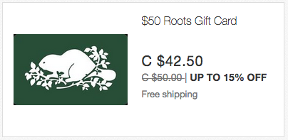 ebay.ca:$50 Roots Gift Card只賣$42.50