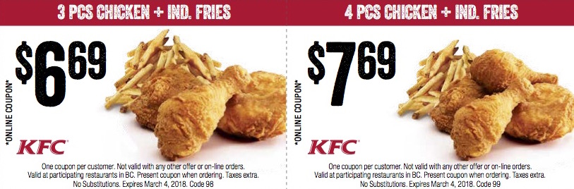 KFC:3件雞 + 薯條只需$6.69