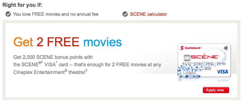 Scotiabank SCENE Visa信用卡:現金支票$40回贈 + 4張Cineplex戲票 + 免年費