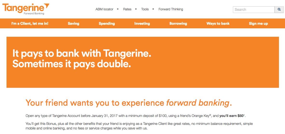 Tangerine:開設戶口可獲$50獎金