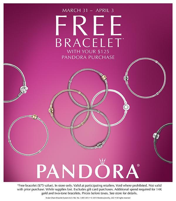 逾期 Pandora 購物滿 125 可獲免費手鏈