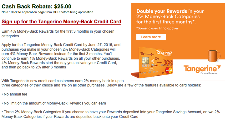 Tangerine信用卡:現金支票$40回贈
