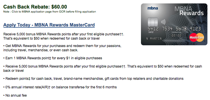 MBNA Rewards MasterCard:現金支票$60回贈
