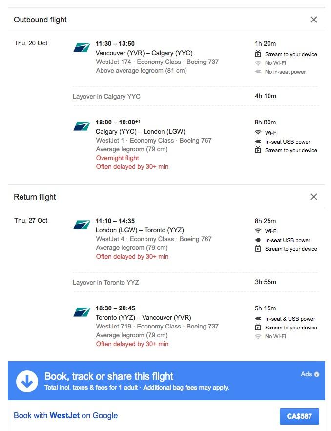 WestJet:來回溫哥華及倫敦只需 $587