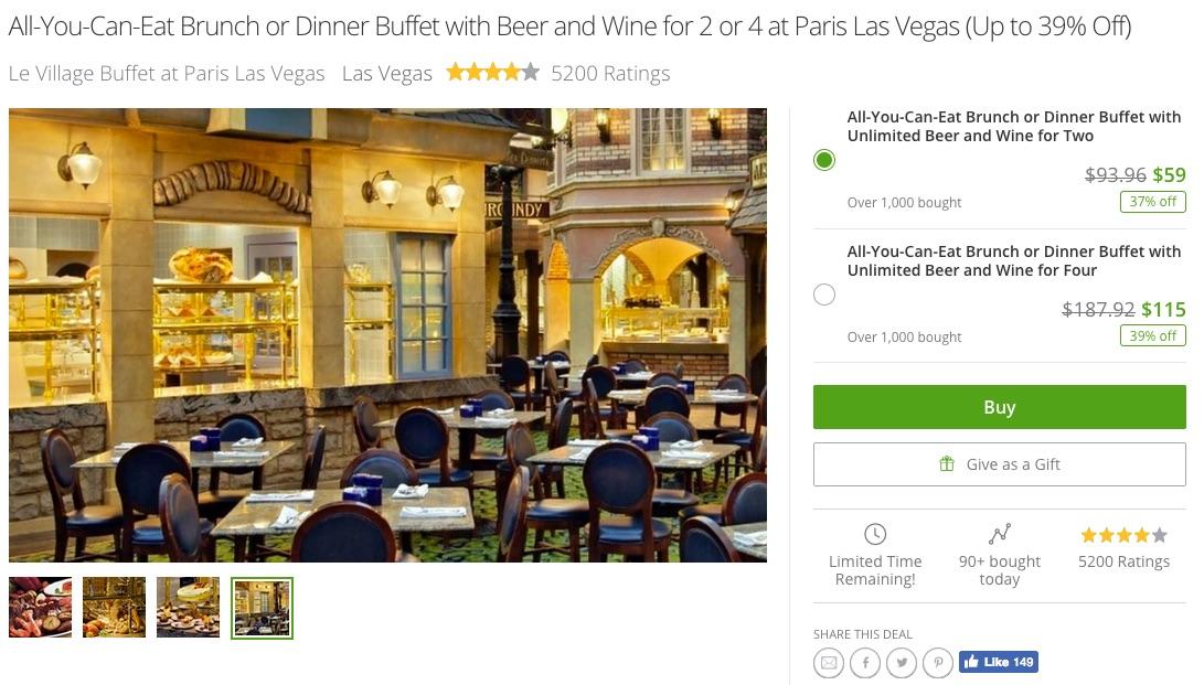 Groupon:拉斯維加斯巴黎酒店Paris Hotel Le Village Buffet自助餐兩位+啤酒/紅酒/白酒任飲只賣US$59