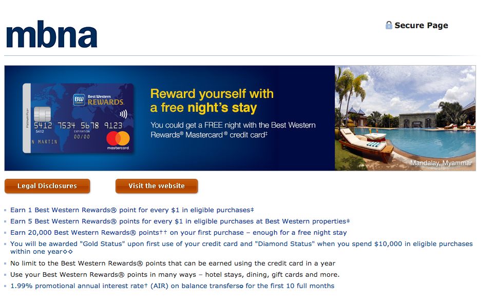 MBNA Best Western Rewards MasterCard:現金支票$60回贈 + 一晚Best Western Hotel酒店住宿