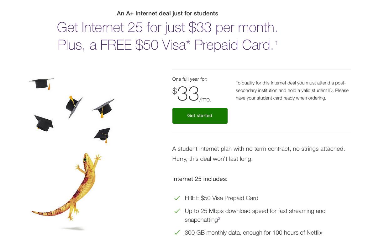 Telus:Internet 25月費只需$33 + 免費$50 Visa Prepaid Card(只限學生)