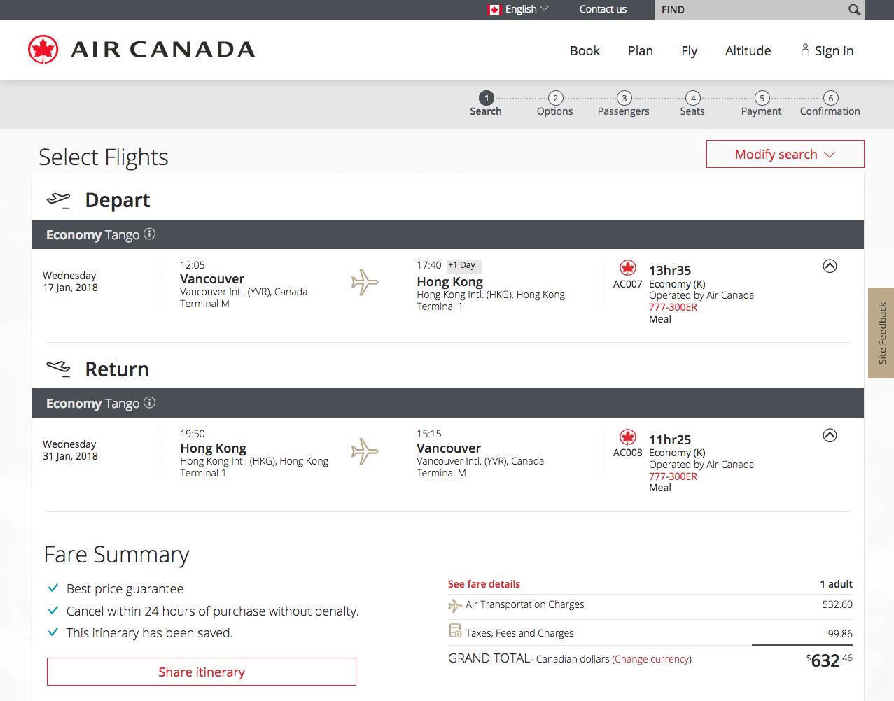 [逾期]Air Canada:來回溫哥華及香港只需加幣$633(連稅)