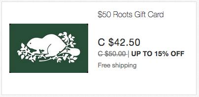 ebay.ca:$50 Roots Gift Card只賣$42.50