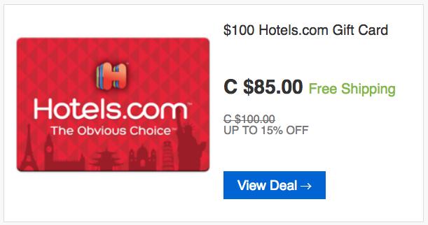 [逾期]ebay.ca:$100 Hotels.com Gift Card只賣$85