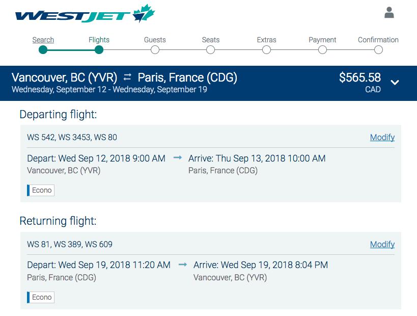 WestJet:來回溫哥華及巴黎機票只賣$566(連稅)