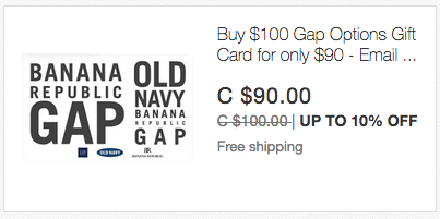 ebay.ca:$100 Banana Republic/Gap/Old Navy禮券(Gift Card)只賣$90
