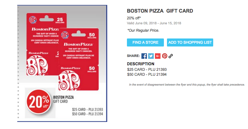 [逾期]Shoppers Drug Mart:購買Boston Pizza禮券(Gift Card),即可獲八折優惠