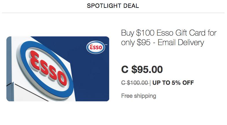 ebay.ca:$100 Esso Gift Card只賣$95