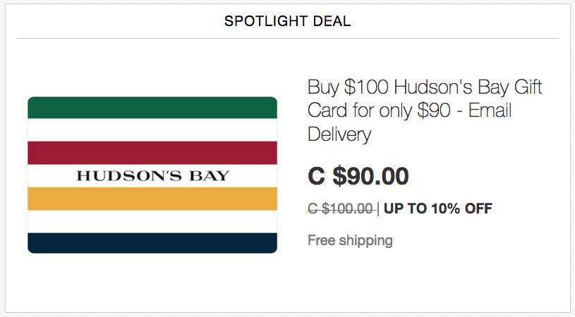 ebay.ca:$100 Hudson's Bay Gift Card只賣$90