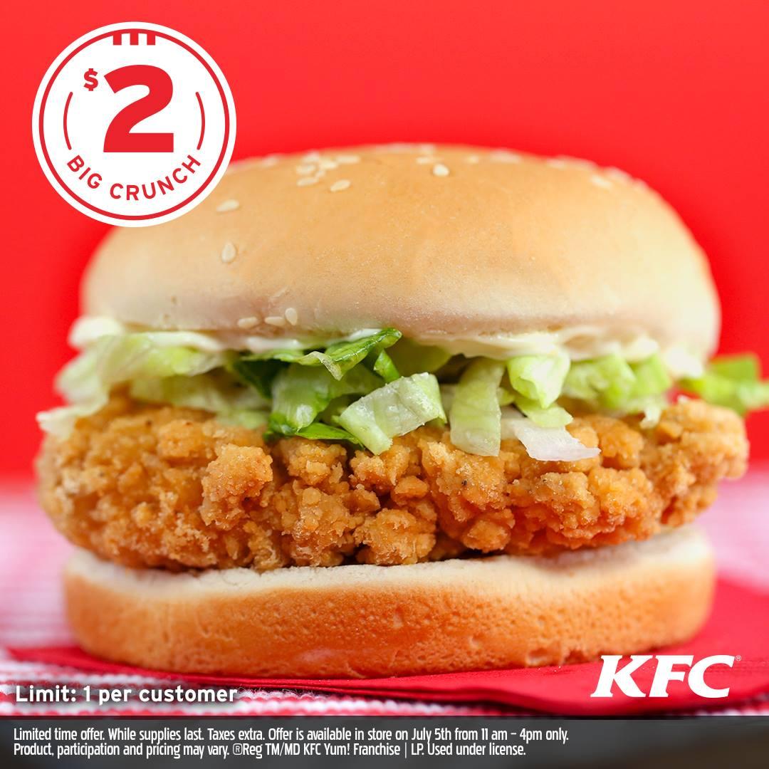 [逾期]KFC:Big Crunch脆雞包只賣$2
