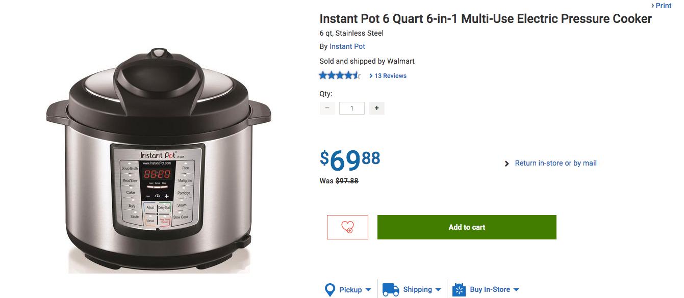 [Sold out]Walmart.ca:Instant Pot電子壓力煲只賣$69.88