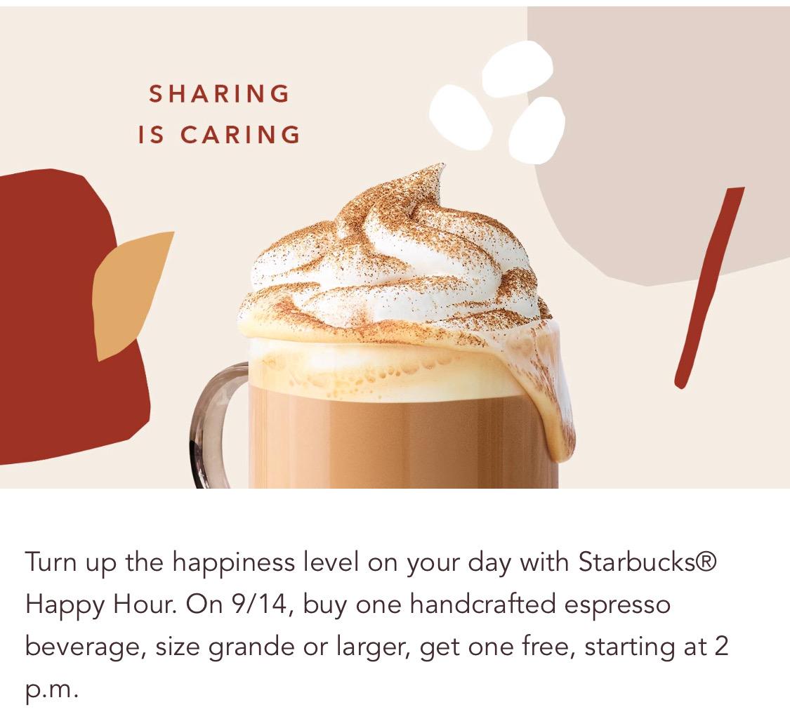 Starbucks:任何Espresso可享買一送一優惠 (只限Starbucks會員)