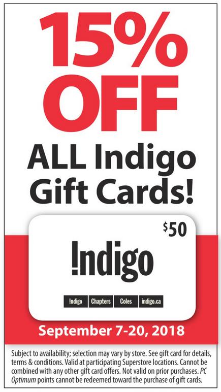 Superstore:購買Chapters/Indigo $50禮券(Gift Card),即可獲八五折優惠
