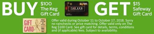 Safeway:購買The Keg $100禮券(Gift Card)可獲$15 Safeway Gift Card
