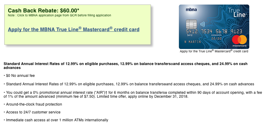 MBNA Trueline MasterCard:現金支票$60回贈