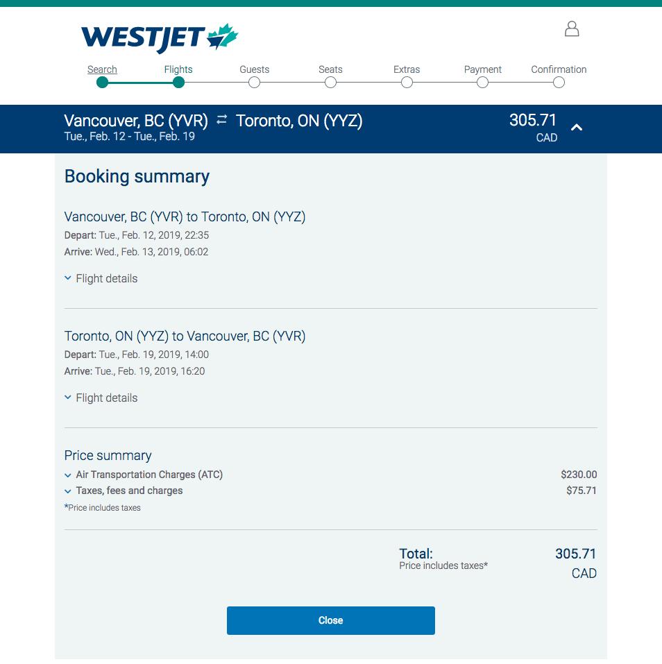 [逾期]WestJet:來回溫哥華及多倫多機票只賣$306