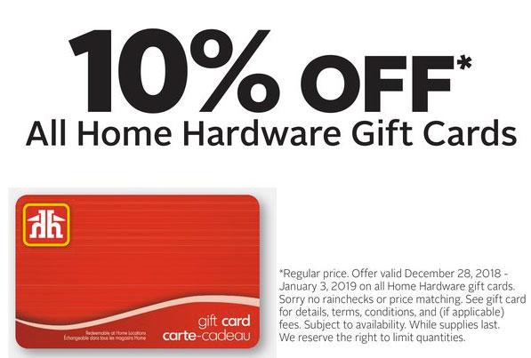 Rexall:購買Home Hardware禮券(Gift Card),即可獲九折優惠