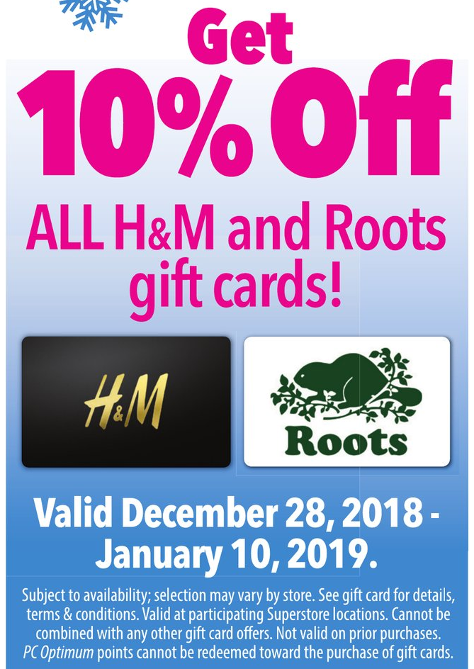 Superstore:購買H&M/Roots禮券(Gift Card),即可獲九折優惠