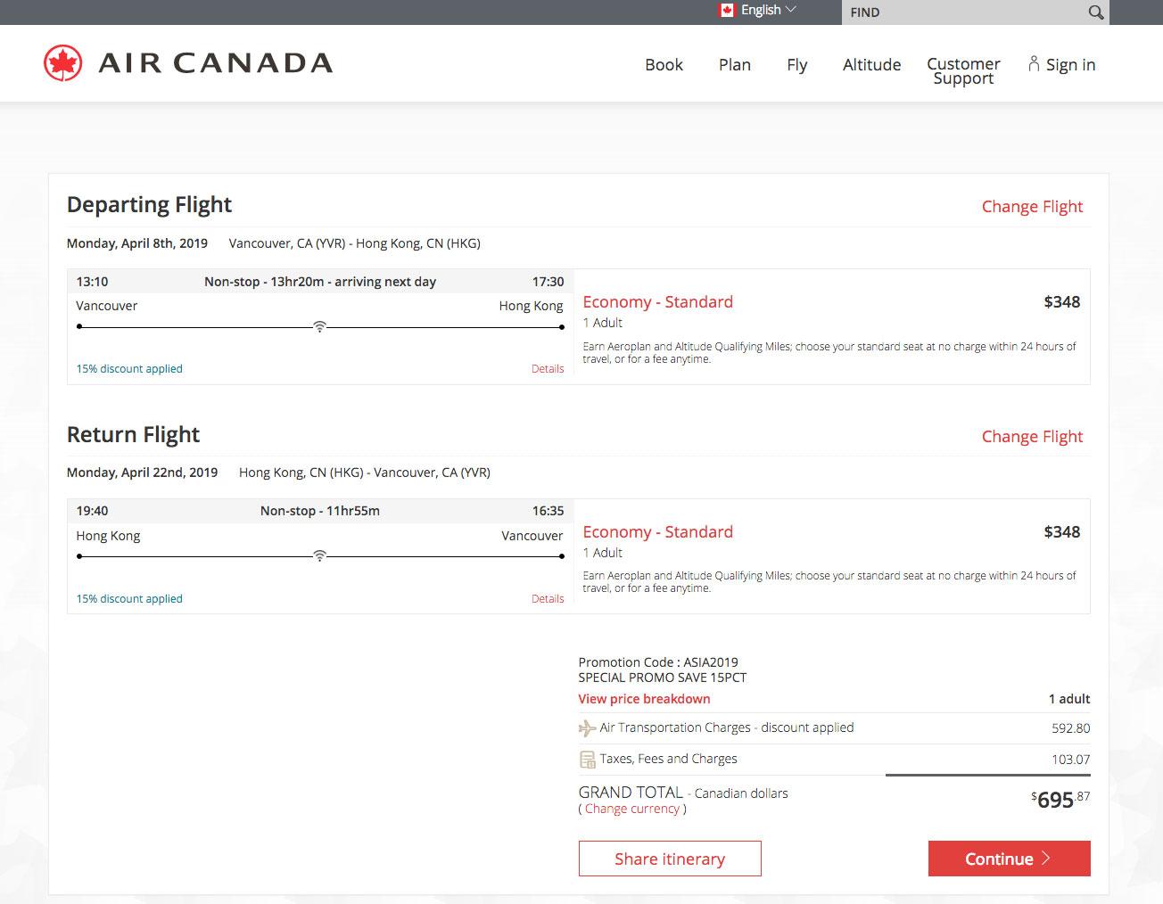 Air Canada:亚洲城市八五折限时优惠