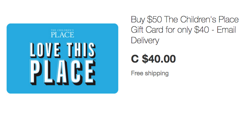 ebay.ca:$50 The Children's Place Gift Card只賣$40