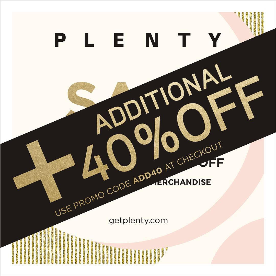 Plenty:秋冬服裝特價後額外六折優惠