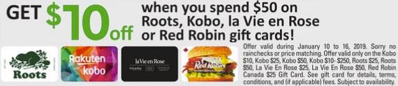 Safeway:購買Red Robin/Roots/La Vie en Rose $50禮券(Gift Card),即可獲$10折扣優惠