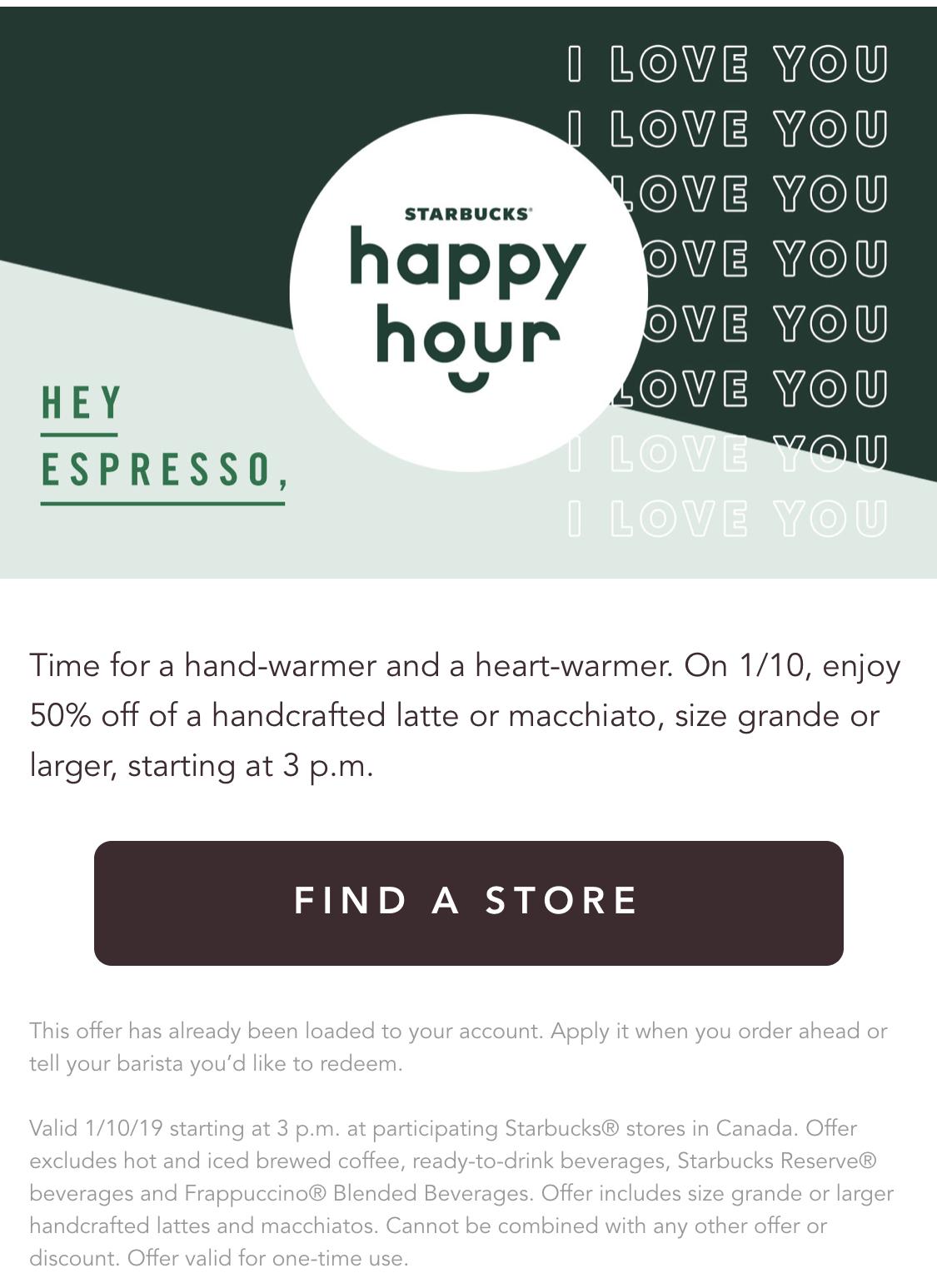 Starbucks:任何Latte/Macchiato可享半價優惠 (只限Starbucks會員)