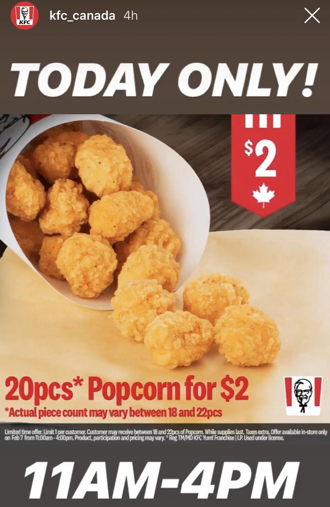 KFC:Popcorn Chicken只賣$2