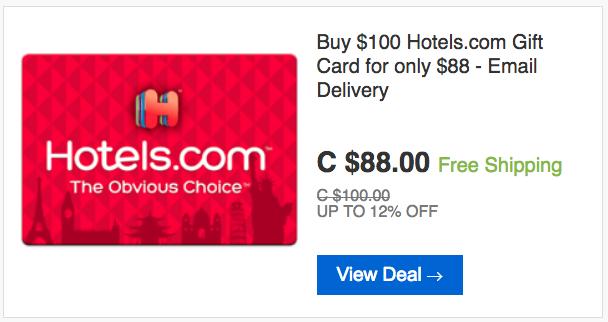 ebay.ca:$100 Hotels.com Gift Card只賣$88