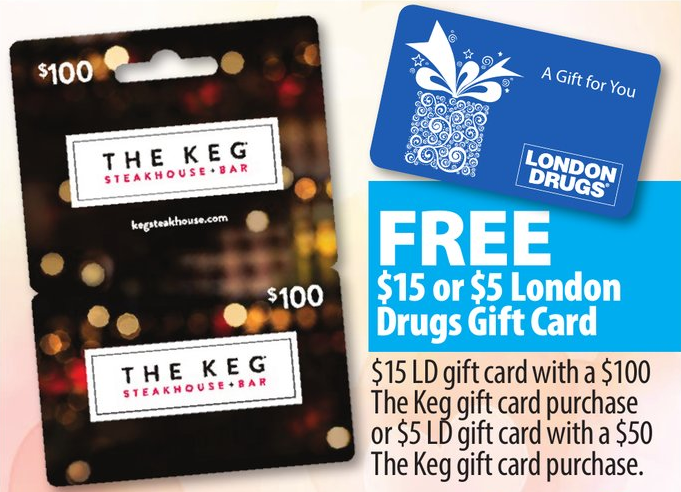 London Drugs:購買$100 The Keg Gift Card可獲$15 London Drugs禮物券