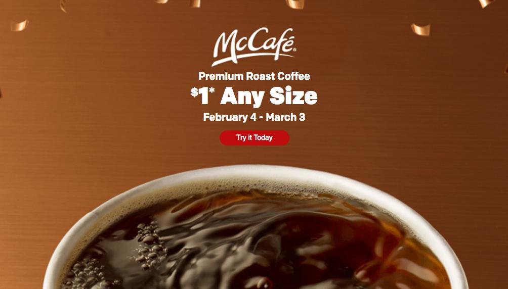 McDonald's:McCafé Premium Roast Coffee只賣$1