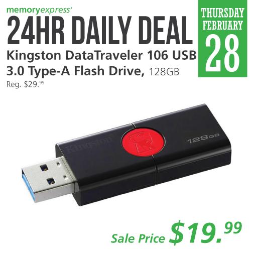 Memory Express:Kingston 128GB USB Flash Drive只賣$19.99