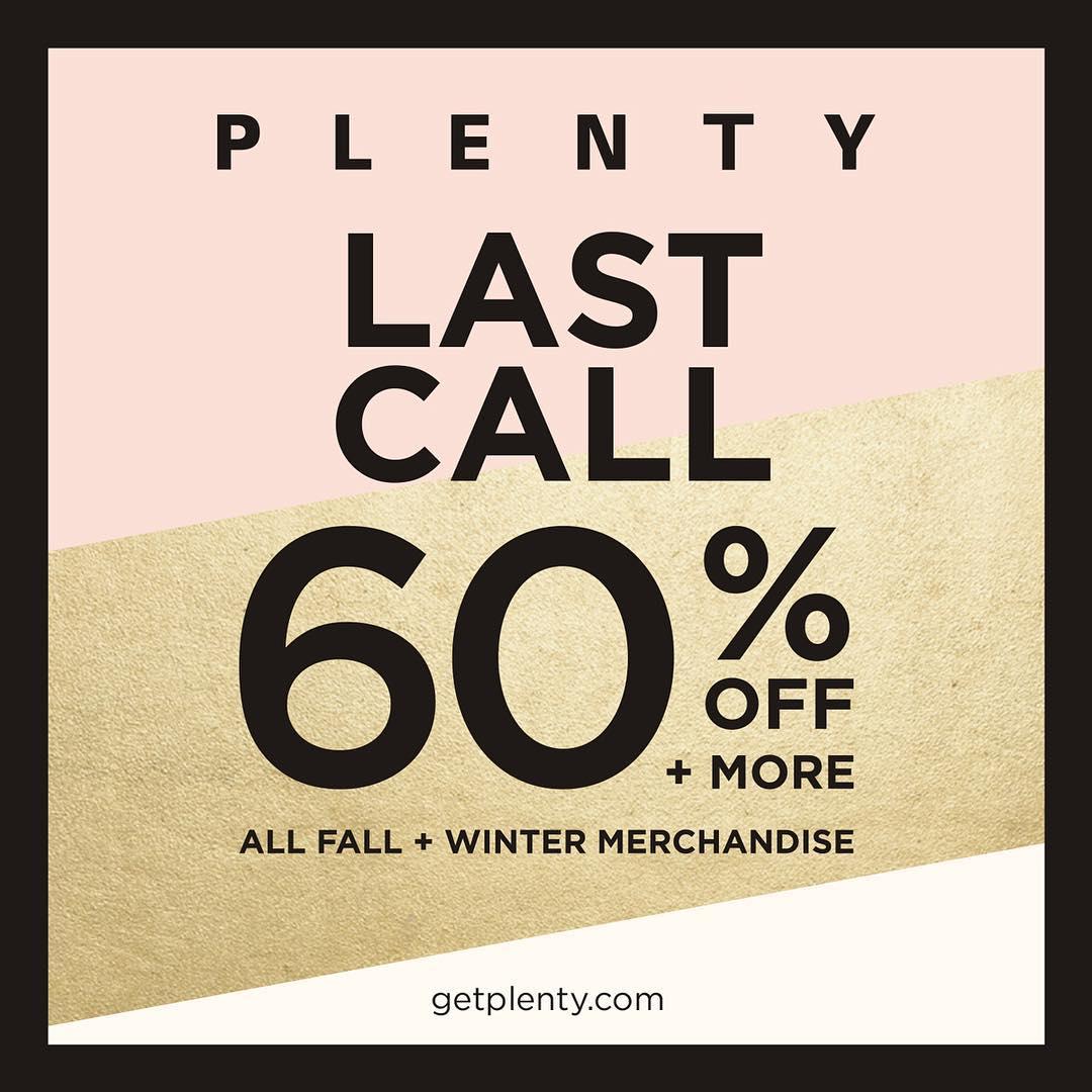 Plenty:秋冬服裝四折優惠