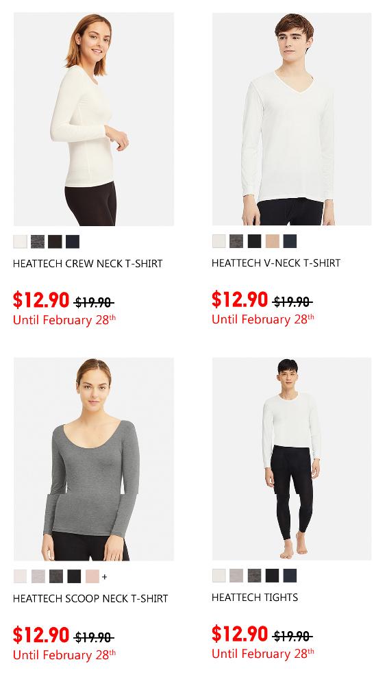 Uniqlo限時優惠:男女裝HEATTECH系列只賣$12.90
