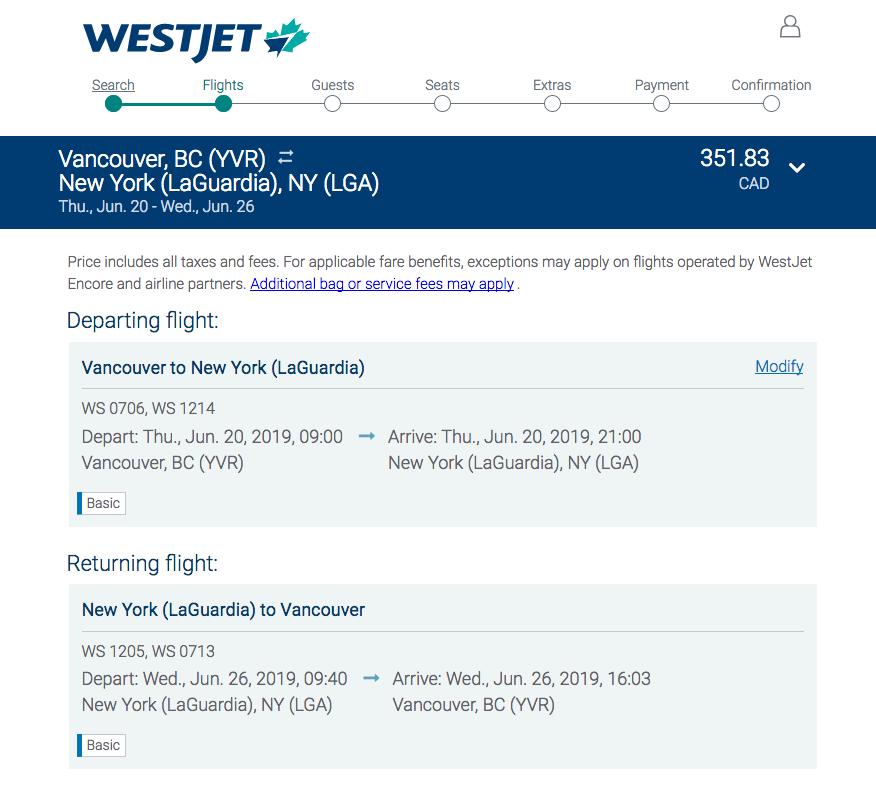 WestJet:來回溫哥華及紐約只需 $352