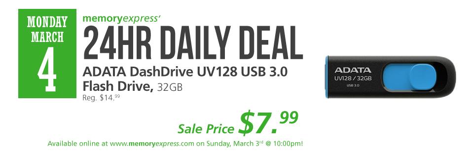 Memory Express:ADATA 32GB USB Flash Drive只賣$7.99