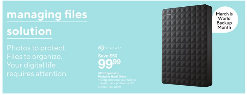 Staples:Seagate 4TB Portable External Hard Disk只賣$99.99