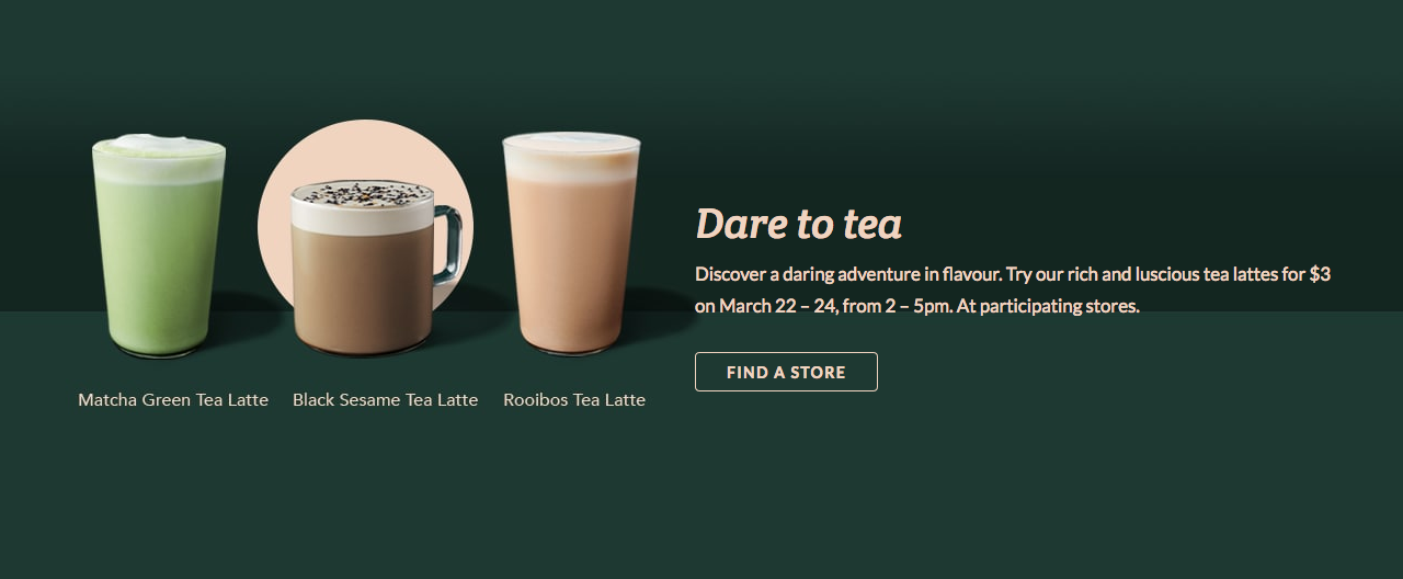 Starbucks限时优惠:Tea Latte只卖$3